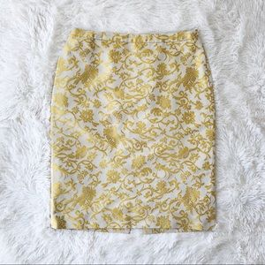Banana Republic silk gold ivory brocade skirt